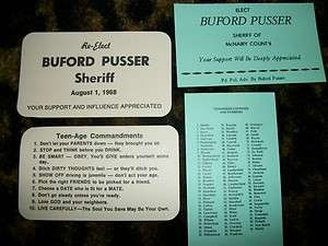 BUFORD PUSSER ELECTION CARDS FROM 2 ELECTIONS SET OF 4