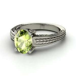 Oval Ceres Ring, Oval Peridot 14K White Gold Ring Jewelry