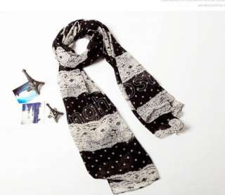 White Black Lace Dots Vintage Stole Scarf Shawl Wrap Womens Lady Silky