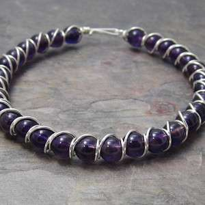 Dark Amethyst Beaded Sterling Silver Wire Wrapped Bracelet