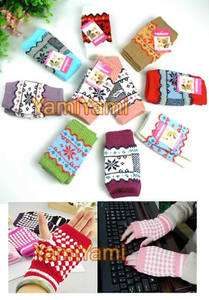 Wool Cloth Winter Short Finger Fingerless Glove For Girl Women
