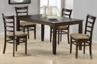 PC MODERN CAPPUCCINO SOLID WOOD TOP DINING TABLE SET
