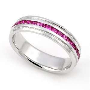 Pink Sapphire Eternity Milgrain Band Ring, 5.5 Juno Jewelry Jewelry