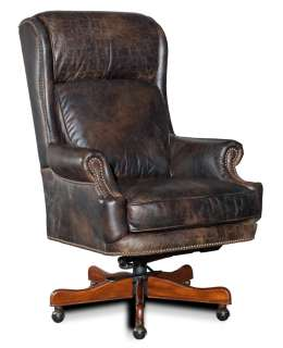 Saddle Brown Leather Executive Office Swivel Chair