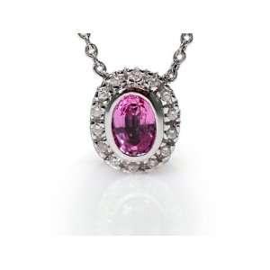 14K White Gold 16 Cable Chain Oval Shape Pink Sapphire Semi Precious