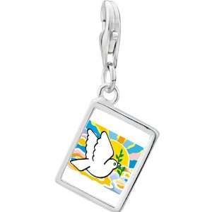 Silver Gold Plated Religion Peace On Earth Photo Rectangle Frame Charm