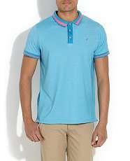 Blue (Blue) Blue Bright Fine Stripe Polo Shirt  261446640  New Look