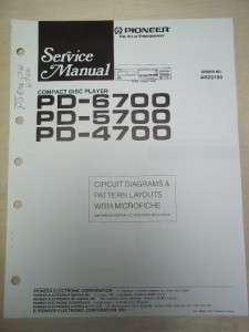 Pioneer Service Manual~PD 6700/5700/4700 CD Player~Original~Repair
