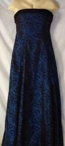 Womens Dark Blue Black Velvet Strapless Formal Dress 8