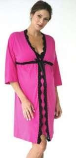 Maternity Nursing Fuschia ARIEL ROBE Pajamas with Black Lace