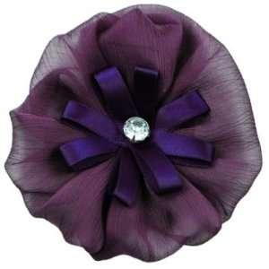 Yo Yo Organza Flower with Rhinestone Brooch Pin Hair Clip