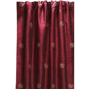 Embroidered Swirl Silk Drape 96l Wine Red Home & Kitchen