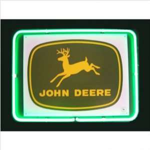 Framed Tin Sign John Deere Neon Framed Tin Sign Neon Sign Color: Green