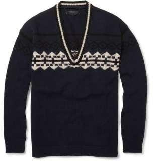 Knitwear  V necks  Graphic V Neck Wool Blend Sweater