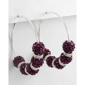 Basketball Wives Inspired Hoop Earrings ~ Dark Purple Fireball Beads