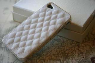 White Deluxe Leather Chrome Hard Case Cover iPhone 4 4s USA Seller