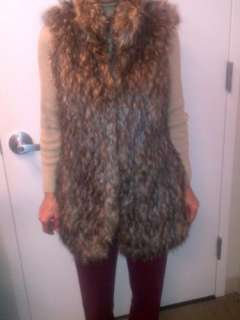 NWT Authentic Michael Kors Rare Dark Camel Brown Long Faux Fur Gilet