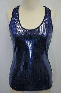 Lily White Purple Sequins Tank Top Sz S