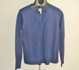 Sag Harbor Womens Navy Blue Sweater Twin Set 2 in 1Full Zipper Long SL