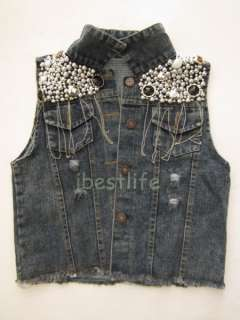 New Fashion Cowboy Womens Ladies Sequins Beading Denim Blue Outerwear