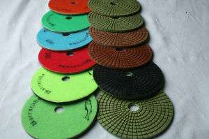 Inch Diamond Polishing Pad 7 Pieces Wet/Dry Stone E.