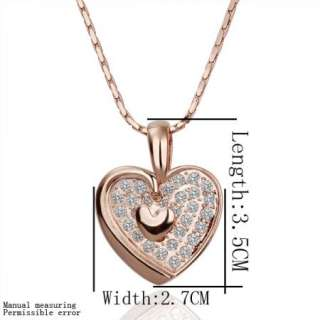 N105 18K rose Gold plated white gem Swarovski crystal heart Necklace
