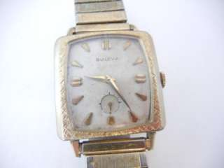 Vintage Mens 1964 BULOVA Square Face Wrist Watch 10 Rolled Gold Plate