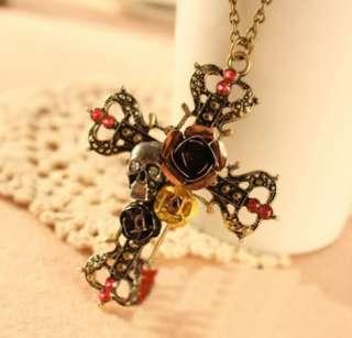 Fashion BETSEY JOHNSON Retro Vintage cross silvery skull roses