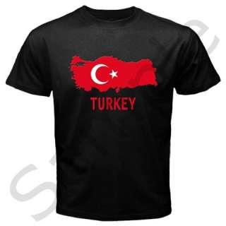Turkey Turkish Flag Map Emblem Black T shirt