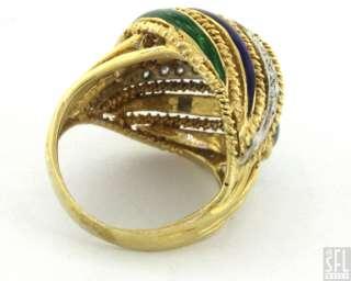 TONE GOLD .18CT DIAMOND BLUE/GREEN ENAMEL DOME COCKTAIL RING