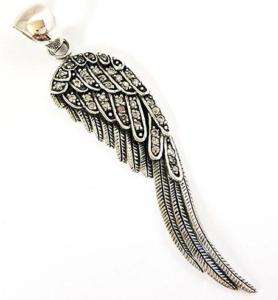 ANGEL BIRD DIAMOND WING FEATHER STERLING SILVER PENDANT
