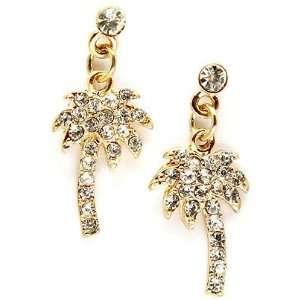 Fancy Gold Tone Clear Crystal Tropical Palm Tree Post Pierced Earrings