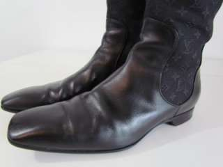 Womens Louis Vuitton Monogram Black Leather Knee High Boots 36 US 6