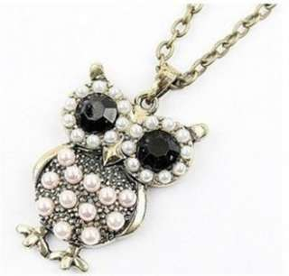 new fashion Vintage style bronze pearl / crystal owl charm necklace