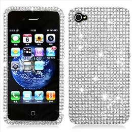 For Apple iPHONE 4 4S Full Diamond Case Silver Crystal Bling Cell