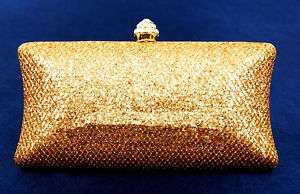 Gold Pearl Shining Swaroski Crystal Clutch Evening Bag