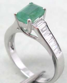 52CT Solid 14Kt White Gold Natural Columbian Emerald Baguette
