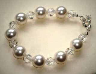 Swarovski 12mm white pearl and crystal bracelet