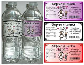 50 WEDDING WATER BOTTLE LABELS Waterproof ~ Glossy ~ Personalized