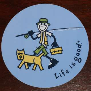 Life is Good Sticker 4 Round Fishing Buddies on Blue