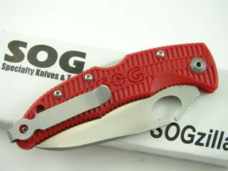 SOG SogZilla Knife 8Cr13MoV RED RSP 01 Low Carry