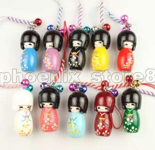 10 pcs Japanese Oriental Kokeshi Doll Handbag Charm