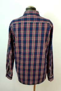 mens red blue plaid AMERICAN EAGLE button front flannel work shirt sz