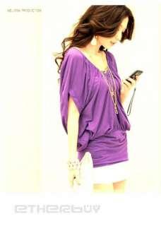 Purple Womens Girls Slim Deep V Tops T Shirt Mini Dress