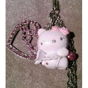 Hello Kitty White Devil Handyschmuck Handyanhänger mit silbernem Herz