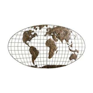 46 in x 25.5 in Metal Iron World Map Wall Art GA1152