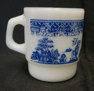 Hocking Fire King Milk White Glass Blue Willow Cup Mug USA