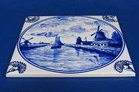 e631f SHIP IN CANAL ON DELFT BLUE TILE |