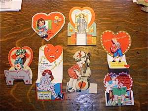 Original vintage Valentine Cards USA dimensional 1930s Queen Hearts