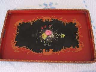 Antique Hand Painted Red Black Gold Made in Japan Floral Wood Tole